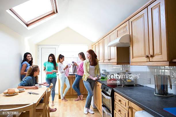 Young Female Students in the Kitchen