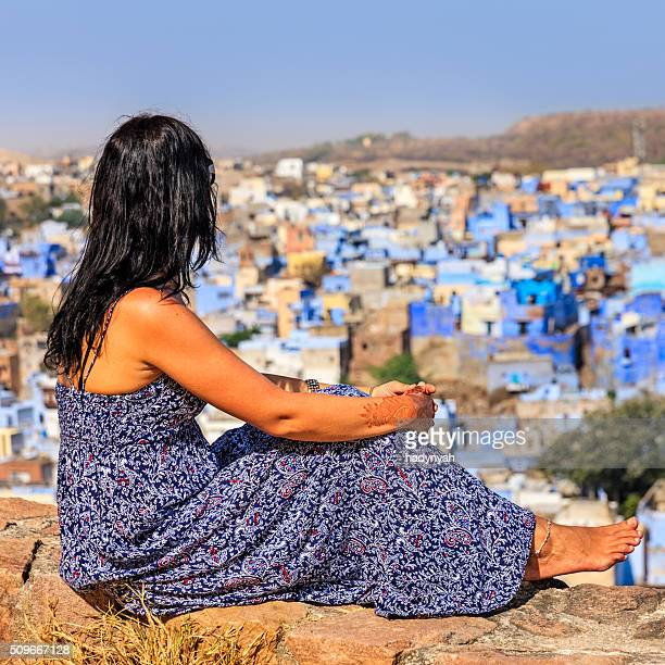 Young female tourist looking at the view, Jodhpur, India