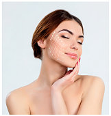 The young female with clean fresh skin, antiaging and thread lifting concept