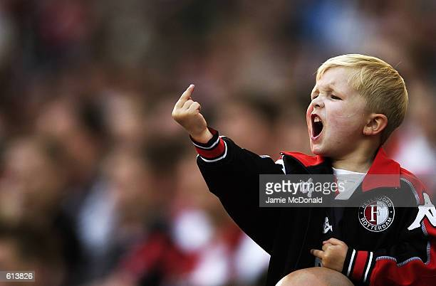 A young Feyenoord fan makes his feelings known during the UEFA Cup Final between Feyenoord and Borussia Dortmund played at the De Kuip Stadium in...
