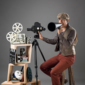 Young film director in period costume