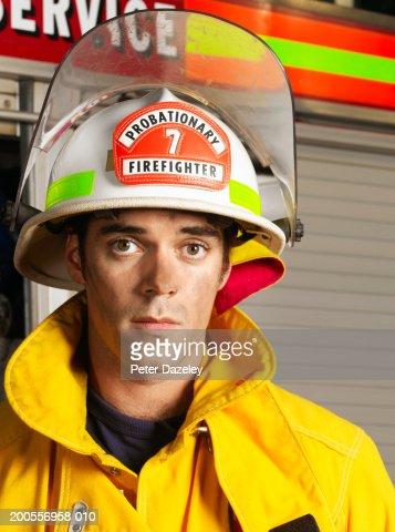 Young fireman, portrait