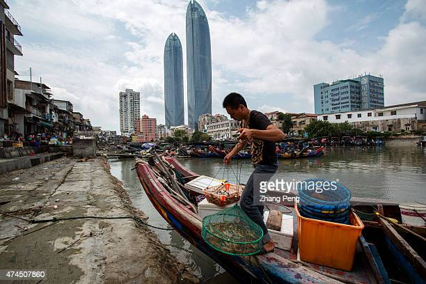 A young fisherman is taking the sea product from his boat to the bazaar on the shore Sha Po Wei is an old safe dock for fishing boats and the only...