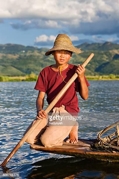 Young fisherman on Inle Lake, Myanmar
