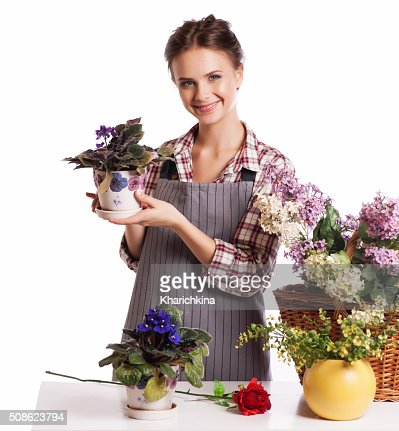 Young florist shop flowers : Stock Photo