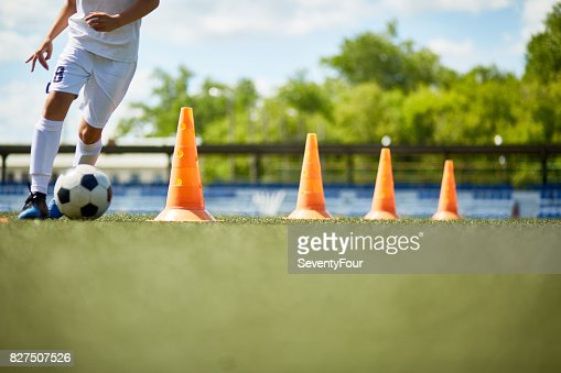 Young Footballer Enjoying Practice : Foto de stock