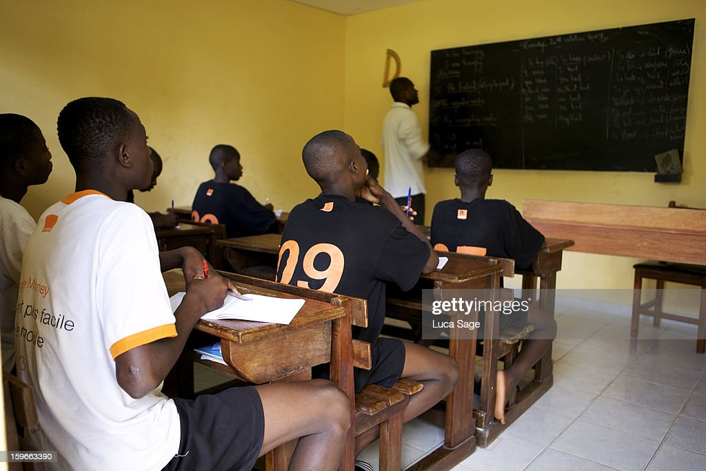Young footballers at ASEC Mimosas famous academy : Stock Photo