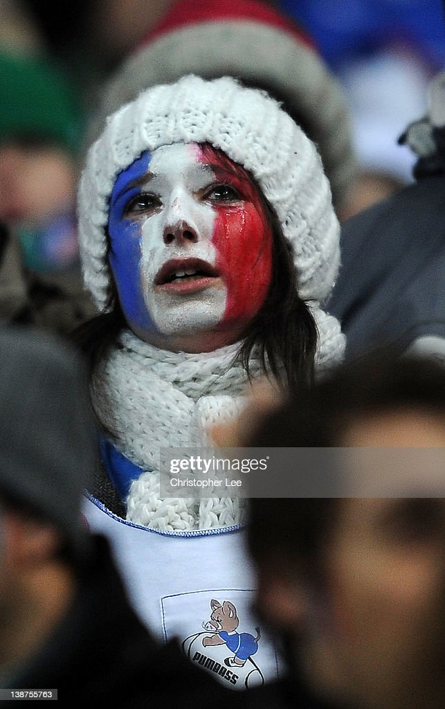 A Young France fan seems to be crying after the match is cancelled just before kick off during the RBS 6 Nations match between France and Ireland at Stade de France on February 11, 2012 in Paris, France.