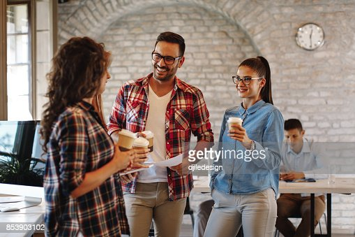 Young freelance team at a coffee break : Stock Photo