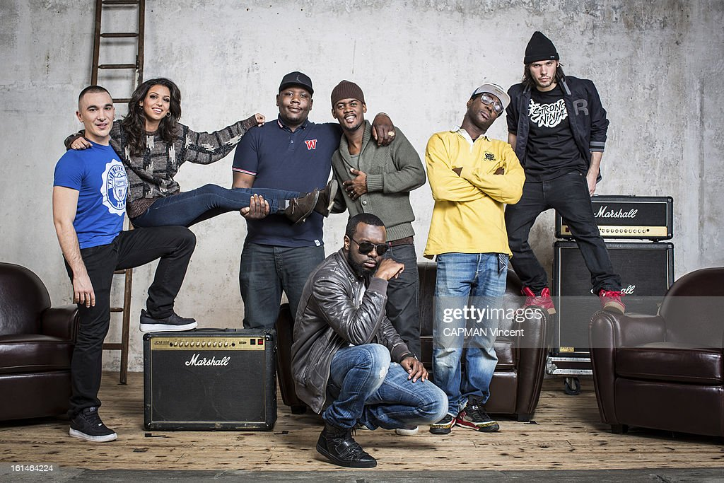 Young french singers in competition for the Victoires De La Musique/ French Music Awards, The Group Sexion d'Assaut pose left to right Maska, JR O Chrome, Black Mesrimes, L.I.O. PetroDollars, Maitre Gims, Tal, Orelsan on February 01, 2013 in Paris, France.