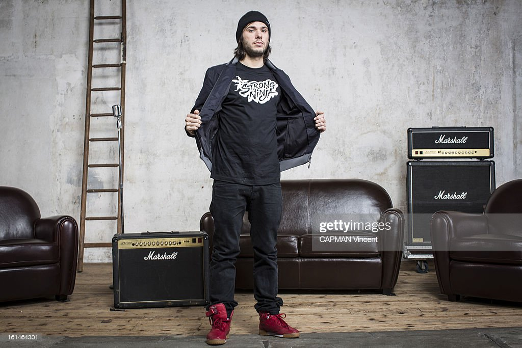 Young french singers in competition for the Victoires De La Musique/ French Music Awards , singer <a gi-track='captionPersonalityLinkClicked' href=/galleries/search?phrase=Orelsan&family=editorial&specificpeople=5830283 ng-click='$event.stopPropagation()'>Orelsan</a> poses on February 01, 2013 in Paris, France.