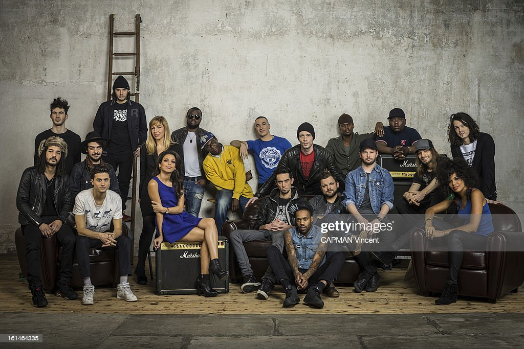 Young french singers in competition for the Victoires De La Musique/ French Music Awards pose from the left to the right Group BB Brunes, Orelsan, Tal, Barbara Carlotti, Sexion d'Assaut, Skip the Use and Shaka Ponk on febuary 01, 2013 in Paris, France.