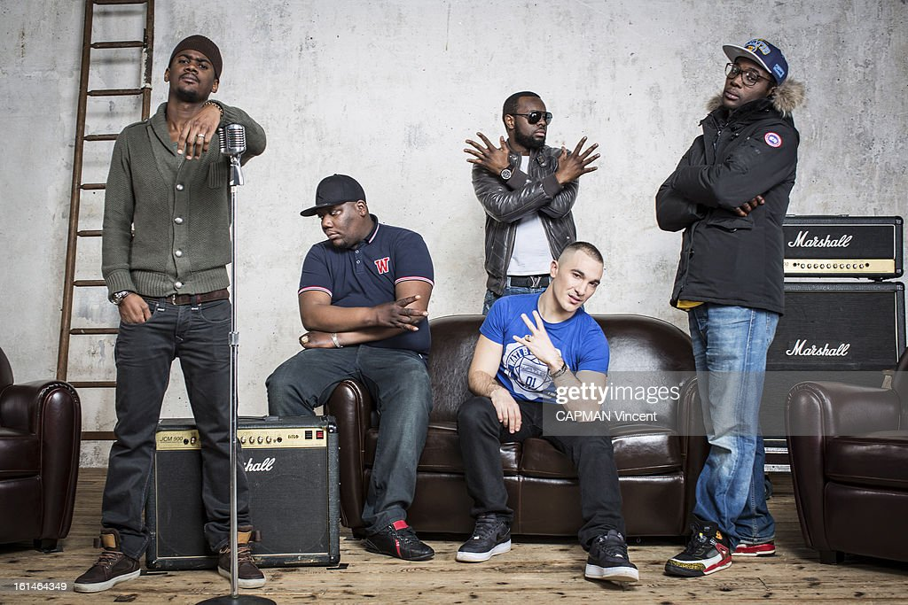 Young french singers in competition for the Victoires De La Musique/ French Music Awards the Group Sexion d'Assaut pose on February 01, 2013 in Paris, France.