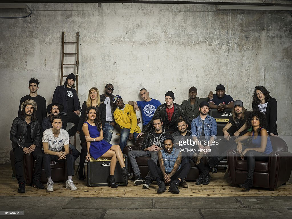 Young french singers in competition for the Victoires De La Musique/ French Music Awards pose from the left at the right Group BB Brunes, Orelsan, Tal, Barbara Carlotti, Sexion d'Assaut, Skip the Use and Shaka Ponk on February 01, 2013 in Paris, France.