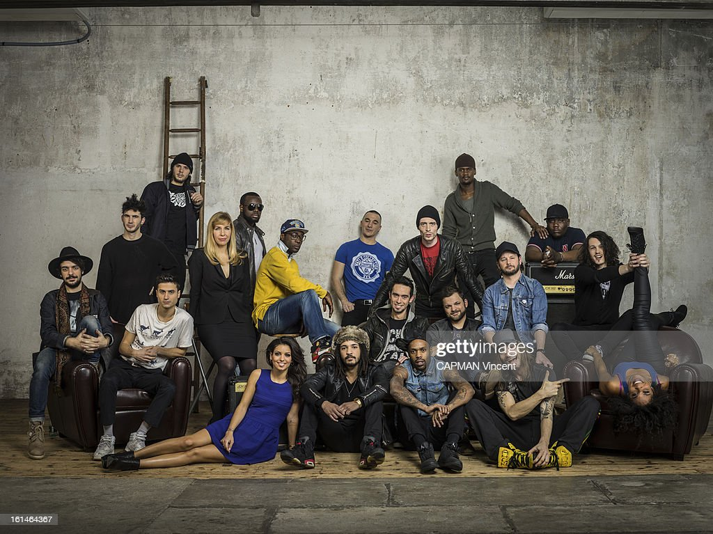Young french singers in competition for the Victoires De La Musique/ French Music Awards pose from the left to the right Group BB Brunes, Orelsan, Tal, Barbara Carlotti, Sexion d'Assaut, Skip the Use and Shaka Ponk on February 01, 2013 in Paris, France.