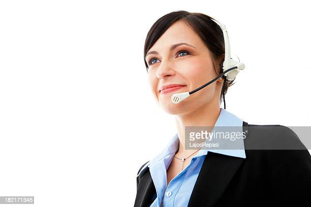 Young friendly female helpdesk operator