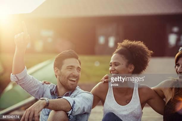 Young friends enjoying outside