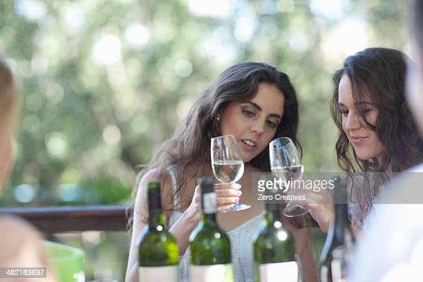 Young friends tasting wine at vineyard bar
