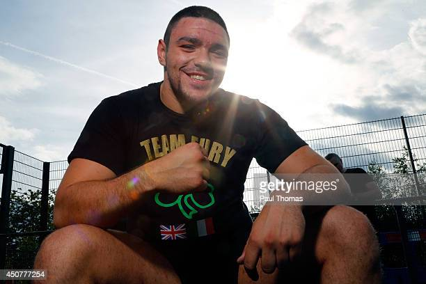 Young Fury poses for a photograph during the Tyson Fury Media Session at the Eddie Davies Football Academy on June 17 2014 in Bolton England