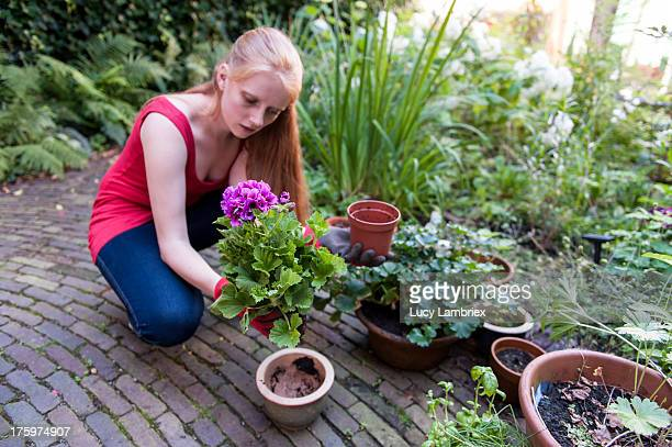 Young ginger woman gardening