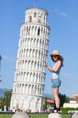 Young Girl and Leaning Tower of Pisa.