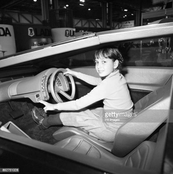A young girl at the wheel of a futuristic car is Louise Fiore of Sheffield whose father Trevor designed the vehicle Mr Fiore is Head of Styling at...