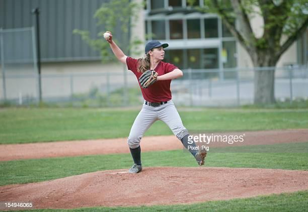 Young Girl  Baseball Pitcher