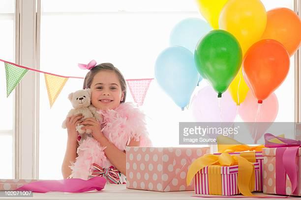 Young girl celebrating birthday