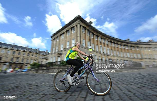 A young girl cycles along the cobble stones of the Royal Crescent during the Bath SkyRide on July 25 2010 in Bath England
