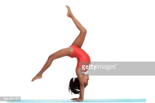 young girl doing gymnastics with motion blur : Stock Photo