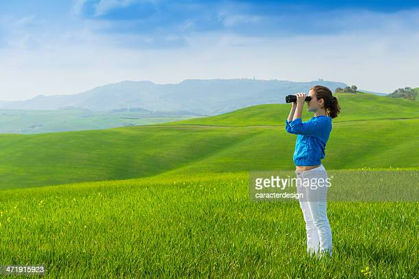 Young girl enjoying Tuscany views