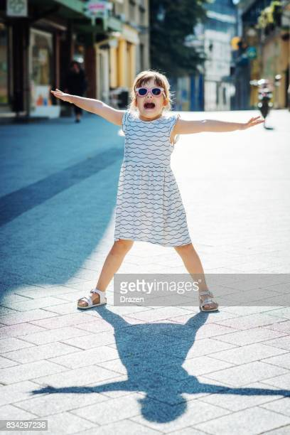 Young girl expressing happiness