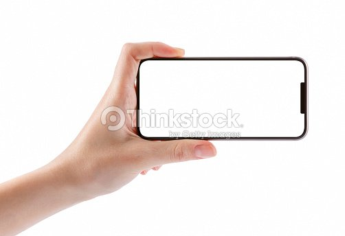 Young girl hands holding black smart phone isolated on white : Stock Photo
