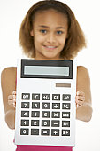 Young Girl Holding Calculator
