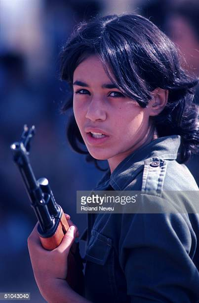 Young Girl Holds A Gun During The Military Training October 9 1983 In Tripoli Lebanon The Plo Palestine Liberation Organization Trains Children Of...