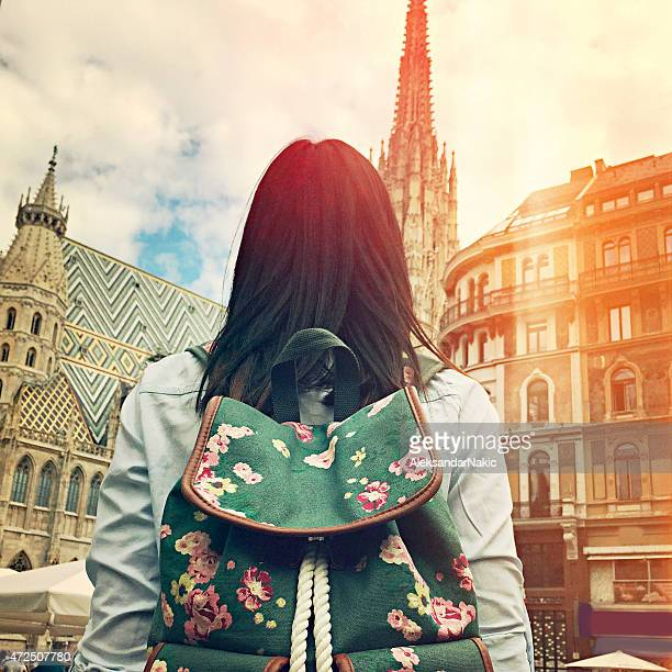 Young girl in front of Stephansdom Cathedral in Vienna