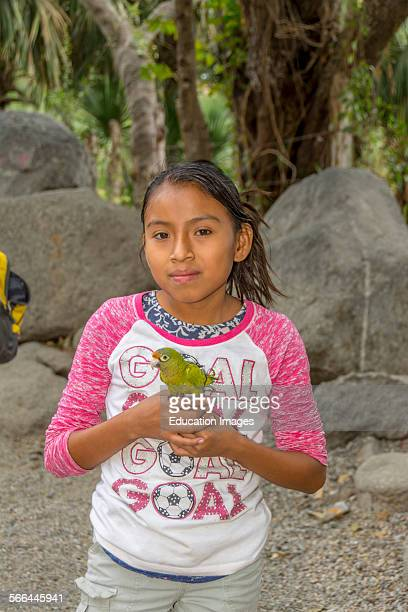 Young girl in Guatemala with a pet bird known as a Orangefronted parakeet or Orangefronted Conure or Halfmoon Conure The scientific name is Aratinga...