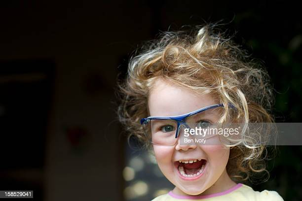 Young girl in safety glasses