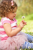 Young Girl In Summer Dress Sitting In Field Blowing Dandelion