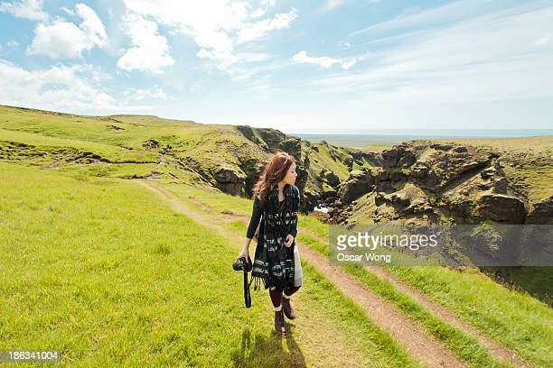 Young girl is hiking