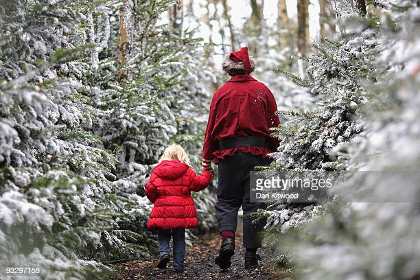 A young girl is taken to visit Santa Claus at Lapland UK on November 20 2009 in Lamberhurst England Lapland UK looks to offer a Christmas experience...