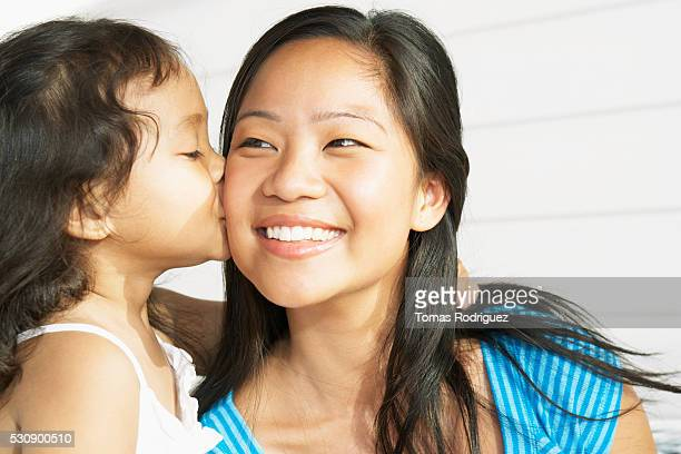 Young girl kissing mother