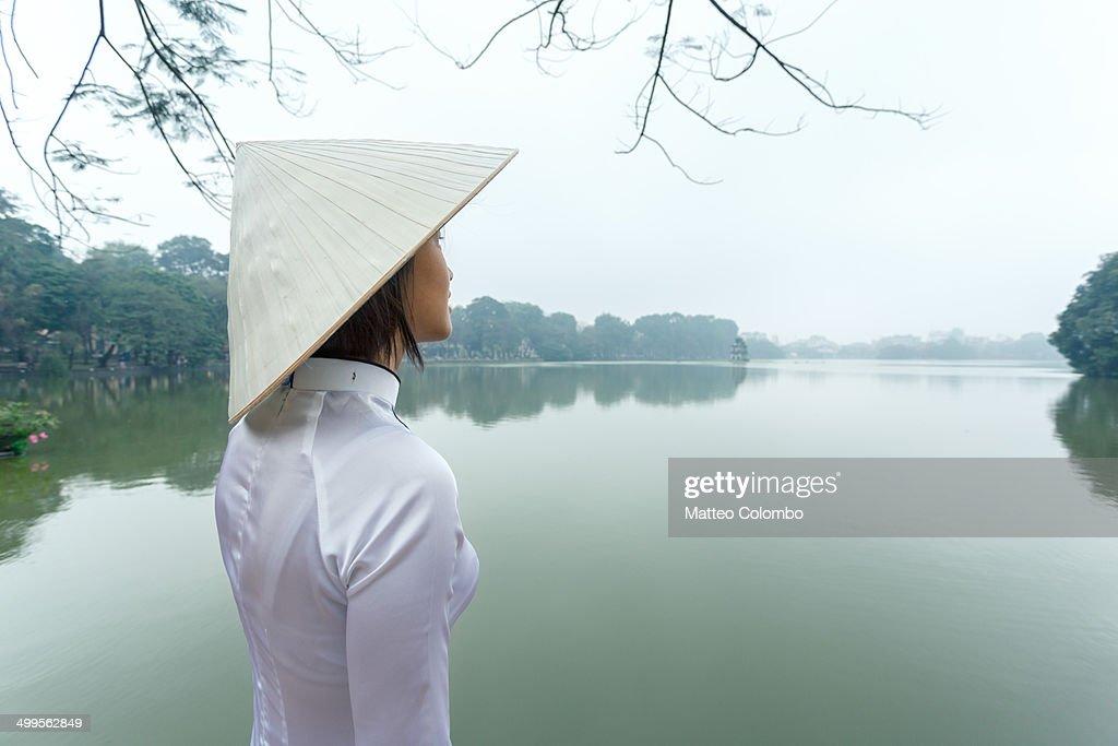 Young girl looking at view, Hoan Kiem lake