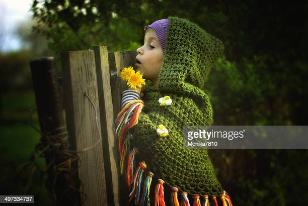 Young girl looking over fence