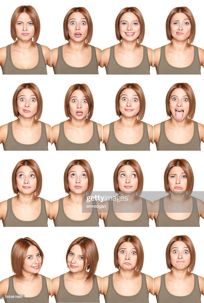 Young girl making facial expressions