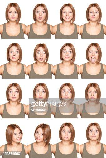 Jeune fille fait expressions du visage
