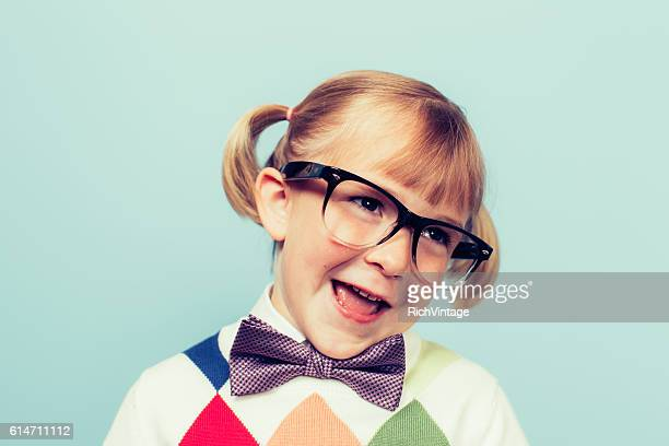 Young Girl Nerd with Goofy Smile