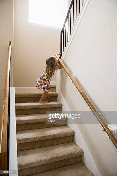Young girl on a stairway