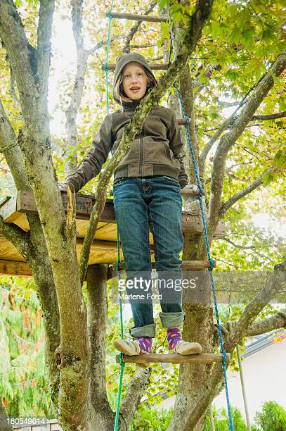 Young girl on ladder climbing to tree fort