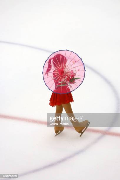 A young girl practices skating during a skating training class on April 5 2007 in Beijing China Skating courses are increasingly popular among...